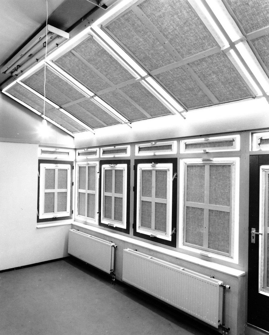 Corona,installatie(17monochromen;variabele maten,hout,o./l.,spieën,650x450x350cm.,Stichting Ultima Thule,1994,Amsterdam